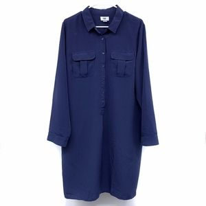 Old Navy Blue Button Down Long Sleeve Shirt Dress